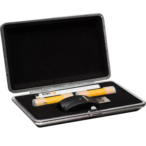 E-cigarette starter blackcase-kit containing a E-cigarette, 2 Vape refills and a USB charger