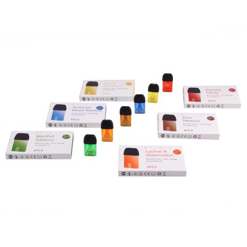 6 different flavored prefilled pod cartridges for vape device