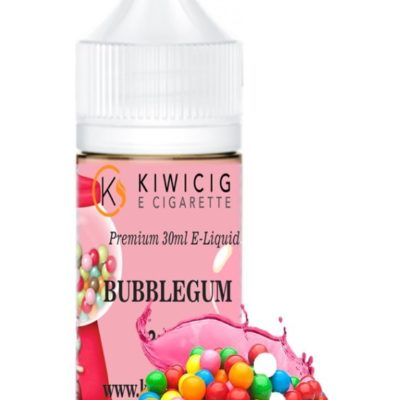 30ml Bubble gum E-Liquid in pink packaging and bubblegums balls at the bottom of bottle