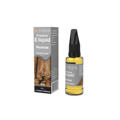 Premium 30ml Platinum E-Liquid-24mg silver bottle and packaging